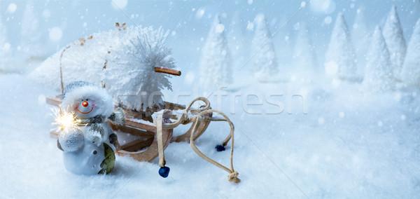 art Christmas background with Christmas tree on Santa sleigh Stock photo © Konstanttin