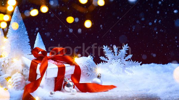 Karácsonyfa fény ünnepi karácsony golyók ajándék doboz Stock fotó © Konstanttin