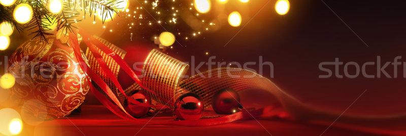 Vidám karácsony ünnepek karácsony fa dekoráció Stock fotó © Konstanttin
