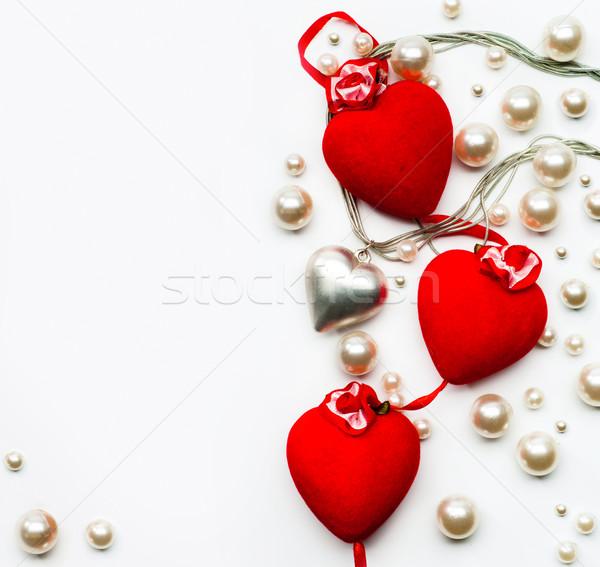 Foto stock: Arte · diseno · tarjeta · de · felicitación · feliz · día · de · san · valentín · corazones