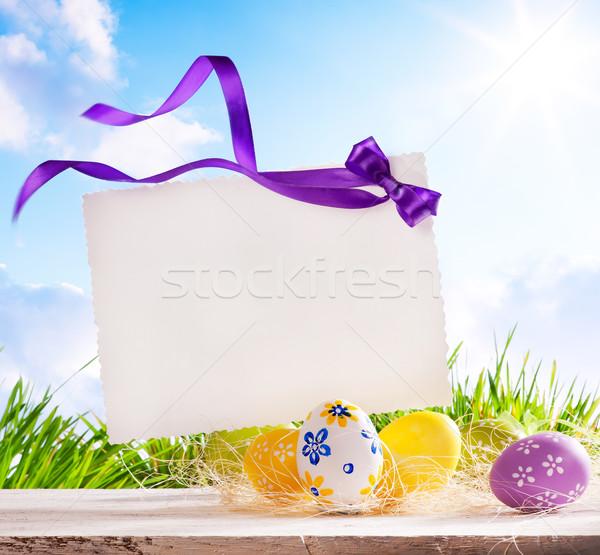 Sztuki Wielkanoc kartkę z życzeniami Easter Eggs niebo wiosną Zdjęcia stock © Konstanttin