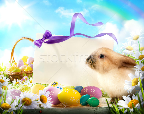 Easter bunny and Easter eggs Stock photo © Konstanttin