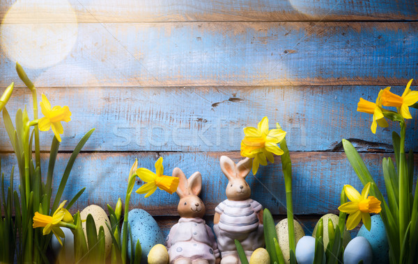 art Happy Easter Day; family Easter bunny and Easter eggs Stock photo © Konstanttin
