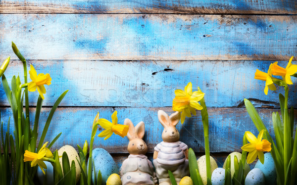 art Easter holidays background; family Easter bunny and Easter e Stock photo © Konstanttin