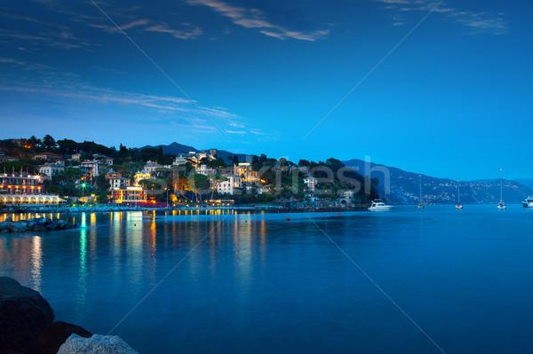 A panorama of Santa Margarita at the dusk in Liguria region, Ita Stock photo © Konstanttin