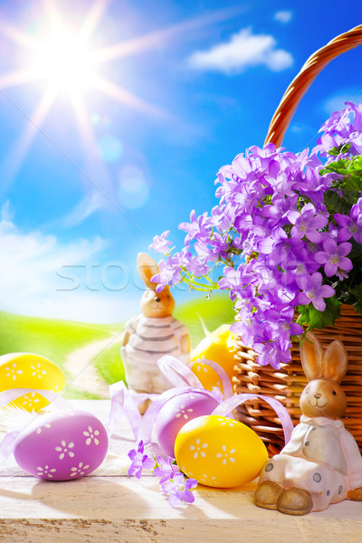 Art Easter bunny and Easter eggs Stock photo © Konstanttin