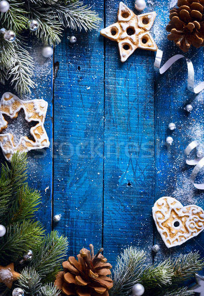 art Christmas blue wooden background with snow fir tree and Chri Stock photo © Konstanttin