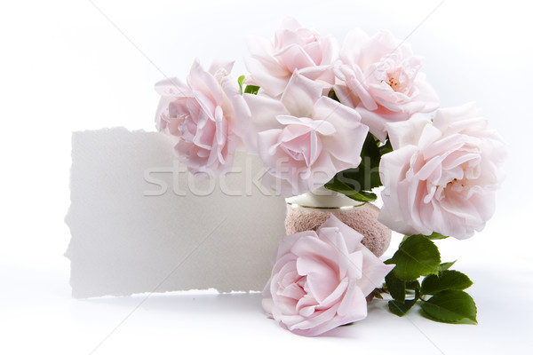 Bouquet roses romantique accueil cartes papier Photo stock © Konstanttin