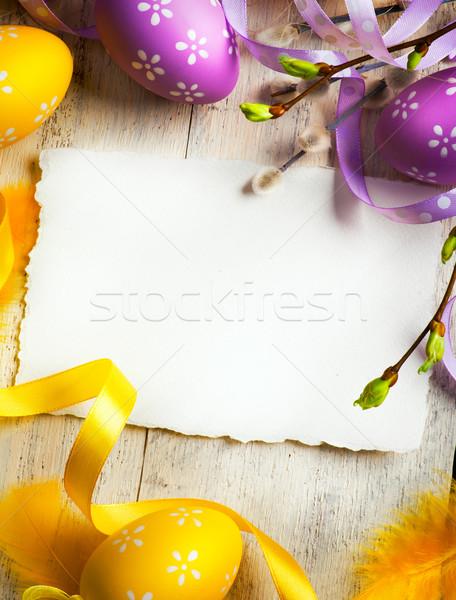 Művészet húsvét húsvéti tojások virág papír tavasz Stock fotó © Konstanttin