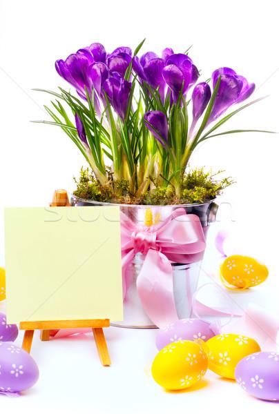 Zdjęcia stock: Wielkanoc · karty · jaj · wiosennych · kwiatów · wesołych · Świąt · Easter · Eggs