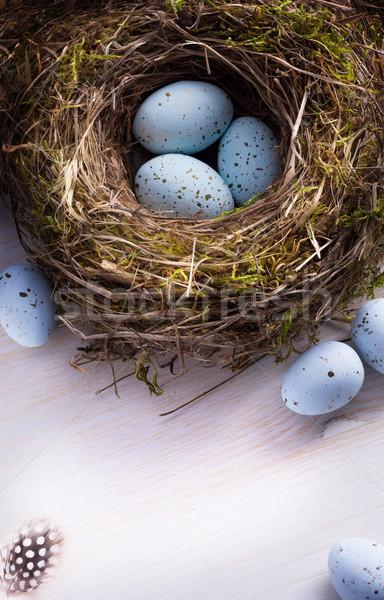 Művészet húsvét húsvéti tojások fészek ünnepi asztal Stock fotó © Konstanttin