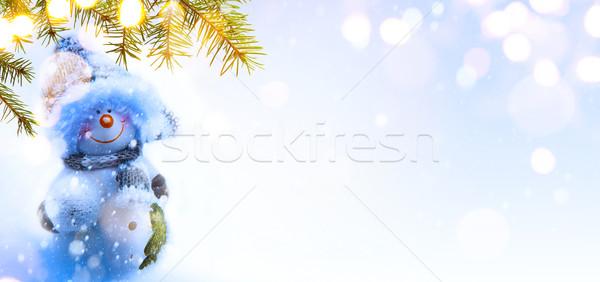 Kék karácsony karácsonyfa ünnepek dekoráció copy space Stock fotó © Konstanttin