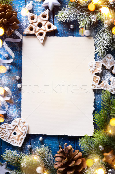 art Christmas holidays composition on blue wooden background wit Stock photo © Konstanttin