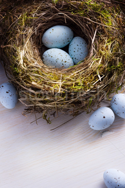 art Easter background with Easter eggs on the nest Stock photo © Konstanttin