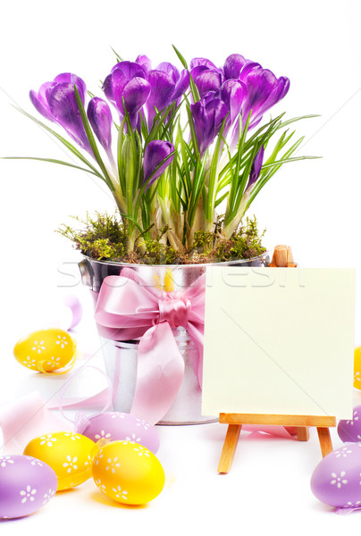 Colorful painted easter eggs and spring flowers Stock photo © Konstanttin