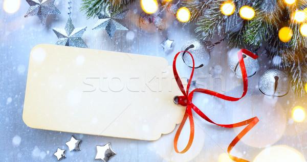 искусства Рождества свет звезды ель серебро Сток-фото © Konstanttin