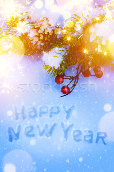 Art Christmas and New Years holidays background with fir-tree br Stock photo © Konstanttin
