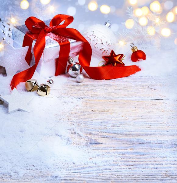 Művészet karácsonyfa fény ünnepi karácsony labda Stock fotó © Konstanttin