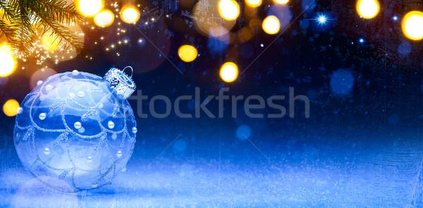 Művészet kék karácsony karácsony dekoráció hó Stock fotó © Konstanttin