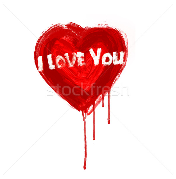 Arte pintado coração amor pintura silhueta Foto stock © Konstanttin