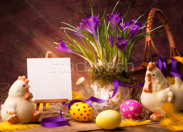 art Easter background with flower and Easter eggs Stock photo © Konstanttin