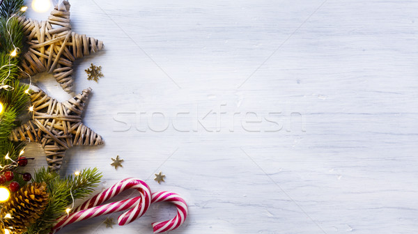 Christmas holidays composition on white wooden background with c Stock photo © Konstanttin