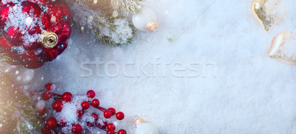 Christmas holidays composition on light snow background with cop Stock photo © Konstanttin