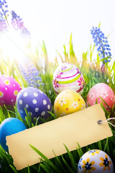 искусства Пасху пасхальных яиц весенние цветы весны синий Сток-фото © Konstanttin