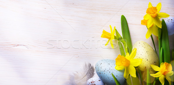 Easter Background with easter eggs and spring flowers Stock photo © Konstanttin