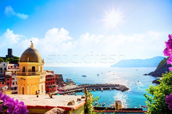 Művészet romantikus tengeri kilátás öt Olaszország Európa Stock fotó © Konstanttin