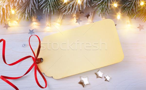 Művészet karácsony szezonális ajándék címke fából készült Stock fotó © Konstanttin