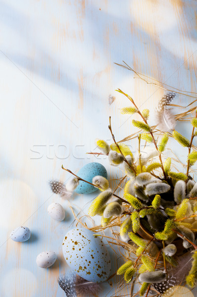 Easter background with Easter eggs and spring flowers.  Stock photo © Konstanttin