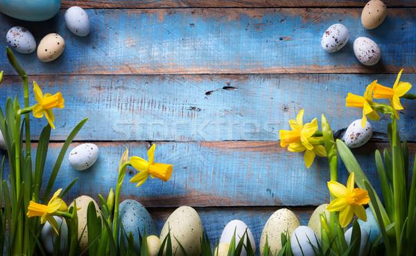 Foto d'archivio: Arte · Pasqua · easter · eggs · fiori · di · primavera · primavera