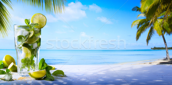 tropic summer vacation; Exotic drinks on blur tropical beach bac Stock photo © Konstanttin
