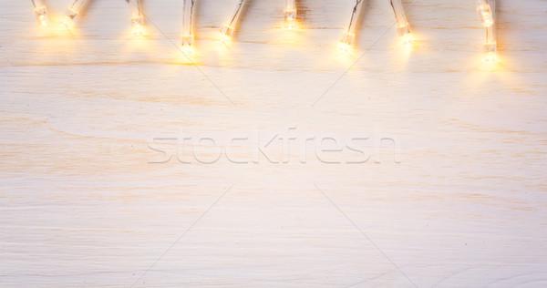 Karácsony fények fa művészet keret terv Stock fotó © Konstanttin