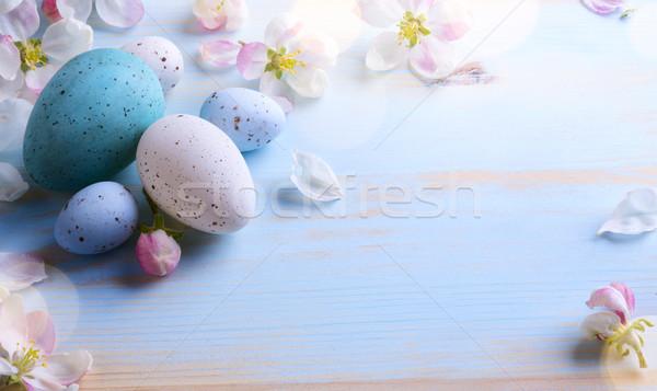 Művészet húsvét húsvéti tojások tavaszi virágok felső kilátás Stock fotó © Konstanttin