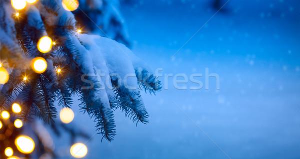 Noel ağacı açık mavi kar ağaç parti mavi Stok fotoğraf © Konstanttin