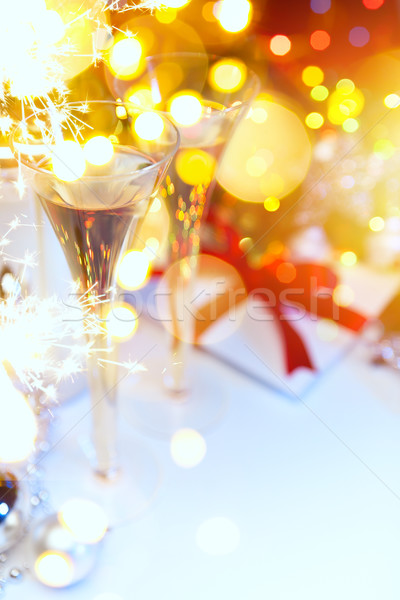 Holidays Light and champagne at Christmas or New Year's Eve Stock photo © Konstanttin