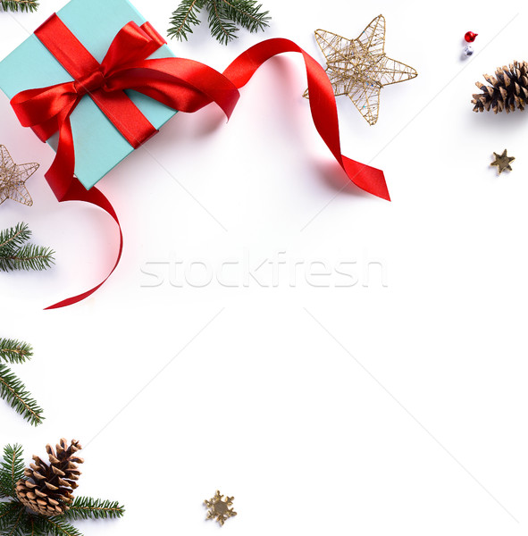 Christmas holiday composition; Christmas gift, fir tree branches Stock photo © Konstanttin