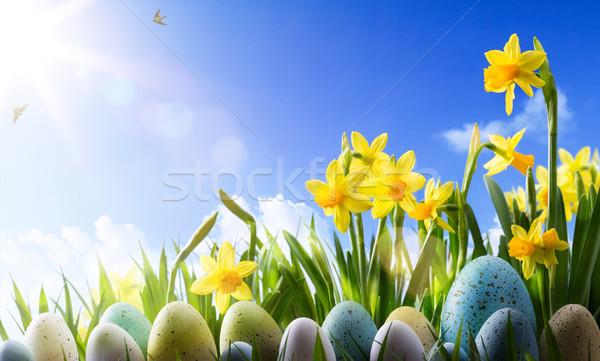 art Easter background; Spring flowers and easter eggs  Stock photo © Konstanttin