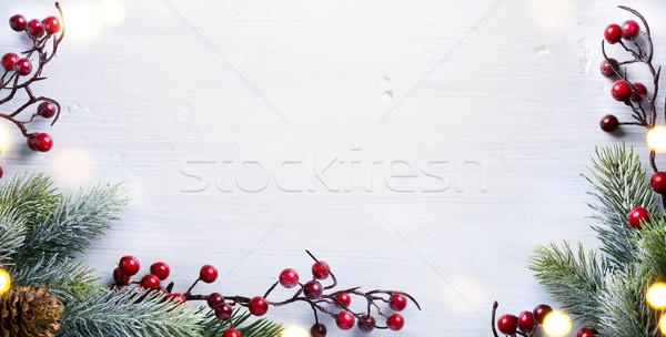 Karácsony ünnepek karácsonyfa dekoráció fehér copy space Stock fotó © Konstanttin