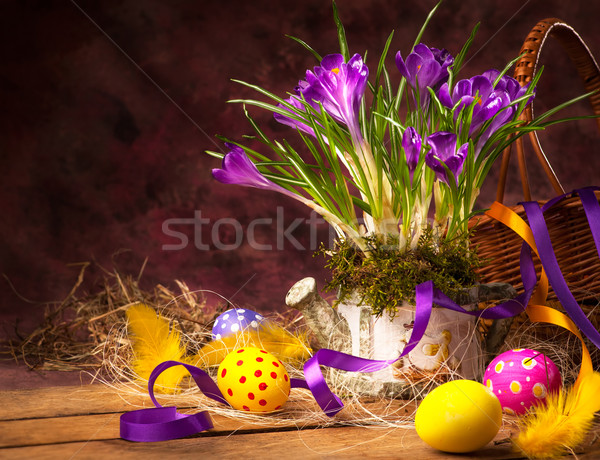 art Easter background with crocuses and Easter eggs Stock photo © Konstanttin