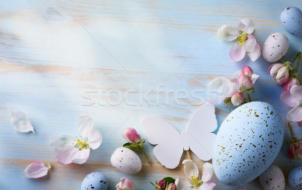 Пасху пасхальных яиц весенние цветы Top мнение копия пространства Сток-фото © Konstanttin
