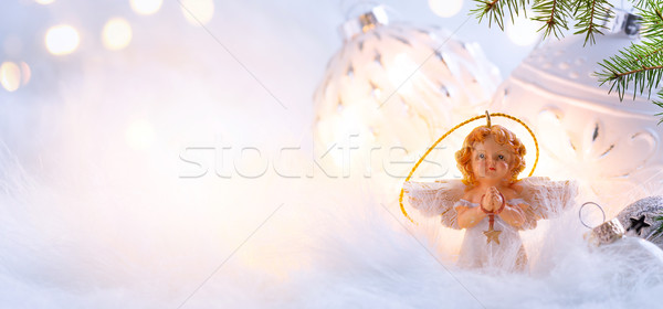 Christmas holidays composition on light blue background with cop Stock photo © Konstanttin