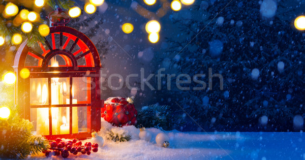Christmas background with decorations and Snow Christmas Tree Stock photo © Konstanttin