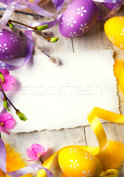 art Easter greeting card with Easter eggs Stock photo © Konstanttin