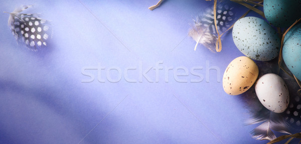 Easter background with Easter eggs and bird feather. Top view wi Stock photo © Konstanttin