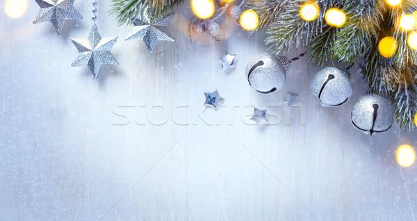 Művészet karácsony ezüst dísz csillagok bogyók Stock fotó © Konstanttin