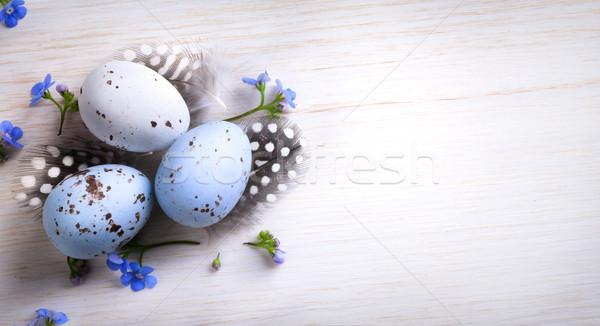 art happy Easter; Easter egg and spring flowers  Stock photo © Konstanttin