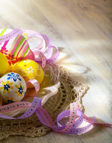 Zdjęcia stock: Easter · Eggs · Wielkanoc · drewna · tle · tabeli · retro